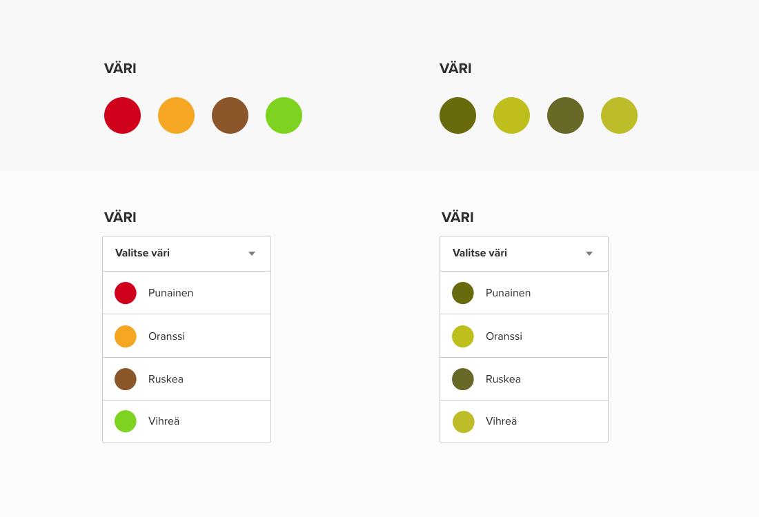 Saavutettavuus parantuu kun tuotteiden värit on nimetty selkeästi.